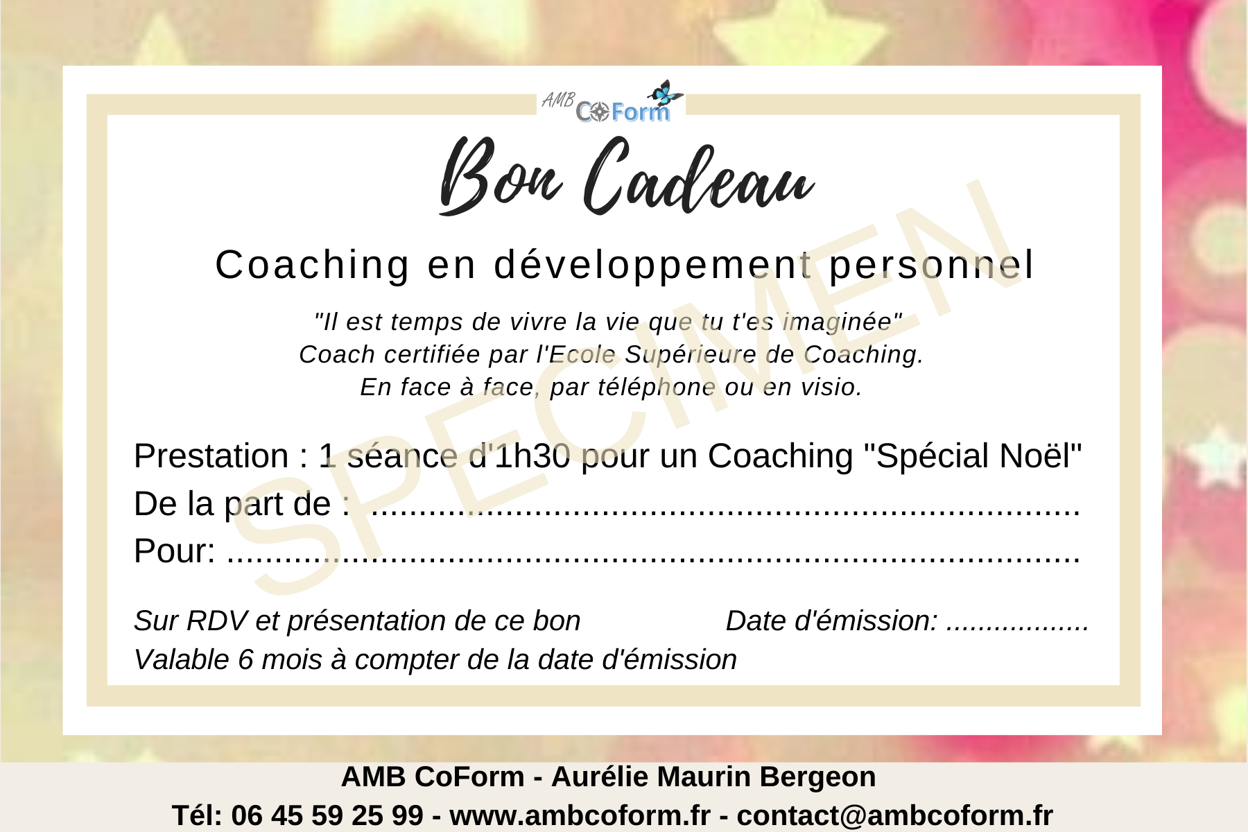 BON CADEAU - Bienvenue - AMB Coform - Aurélie Maurin Bergeon - Coaching - Conseil - Formations